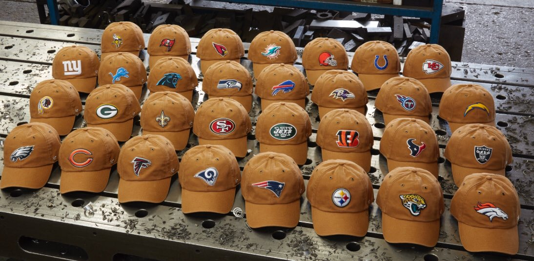 "New NFL ""Rough   Rugged"" hat collaboration between  47brand    Carhartt  debuting Thursday. Every team will be sold ( 30- 35) 562494f60b0"