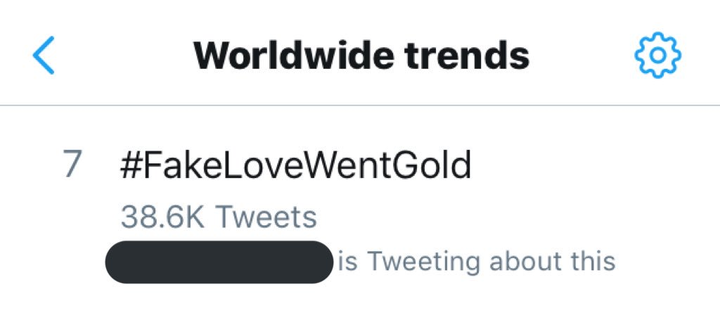 """[INFO] #FakeLoveWentGold is now trending at #7 worldwide after it was announced that @BTS_twt earned their 3rd Certified Gold in the US with """"Fake Love""""!   Promote this achievement using the hashtag, ARMY!  <br>http://pic.twitter.com/OaW474Pm3E"""