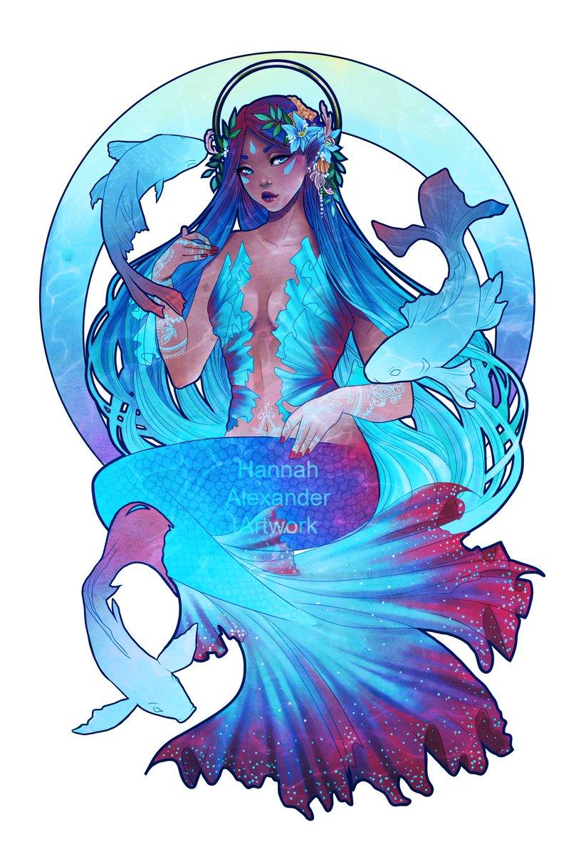 My first official OC, Leilani. Retweet if you love mermaids as much as I doooooo #art #artgallery <br>http://pic.twitter.com/6BRMJZcZ4D