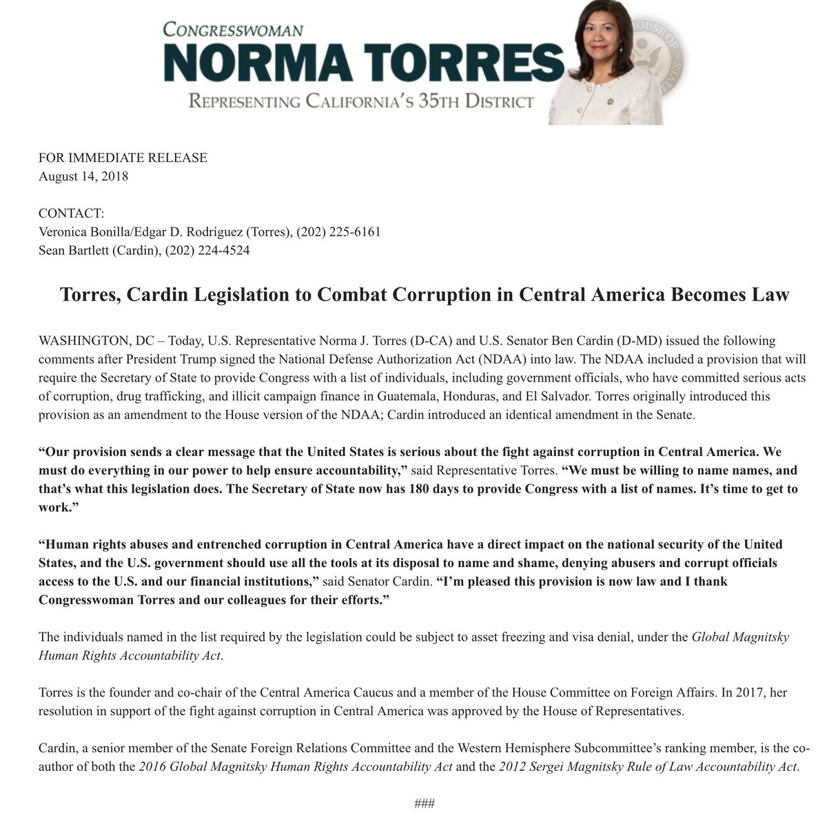 Legislation requiring @StateDept to send Congress a list of individuals from Guatemala, Honduras and El Salvador who are involved in serious corruption cases passed in the House, Senate, and was signed into law today. Read statement from authors @NormaJTorres and @SenatorCardin: