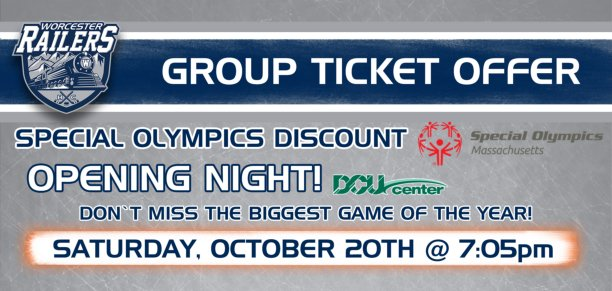 The @RailersHC are offering discounted tickets for @SpecialOlympics athletes and and their families to their home opener, October 20! This is their biggest game of the year so get your tickets early #ChooseToInclude  https:// railers.isportstix.com/order/group/SO MA18/ &nbsp; … <br>http://pic.twitter.com/N1B15TEgJx