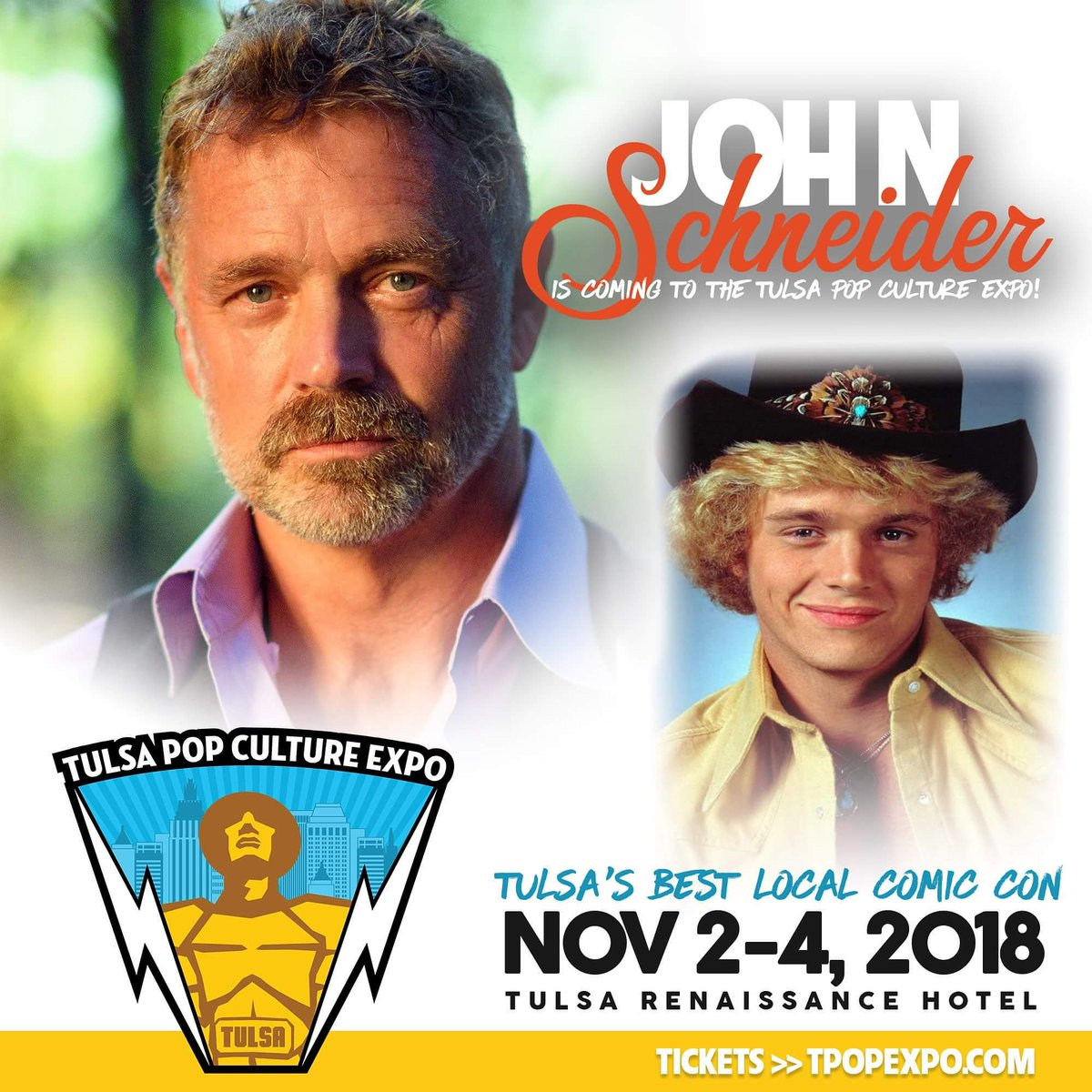 .@John_Schneider is coming to #Tulsa! Get your tickets today at  http://www. TulsaPopCultureExpo.com  &nbsp;  . #tulsapop<br>http://pic.twitter.com/jXbCOai8M8