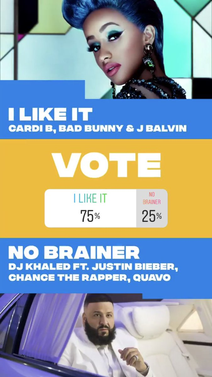No Brainer by DJ Khaled ft Justin Bieber, Chance the Rapper and Quavo is nominated for Song of the Summer at the VMAs. You can vote on @MTV's Instagram Stories so they can make it to the next round. Voting for this round closes tomorrow.<br>http://pic.twitter.com/Qvv4bVKUWQ