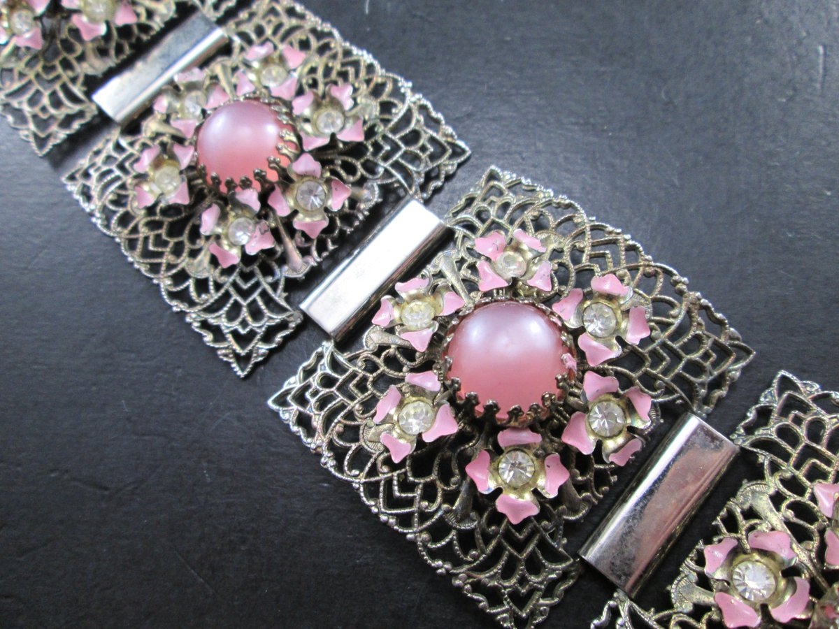 Vintage Silver Tn Filigree Pink Flower Rhinestone &amp; Pink Cabochon Panel Bracelet Mid Century at SecondhandNel   https:// etsy.me/2nEI2FK  &nbsp;   via @Etsy #flower #jewelry<br>http://pic.twitter.com/OiKXUfh9JN