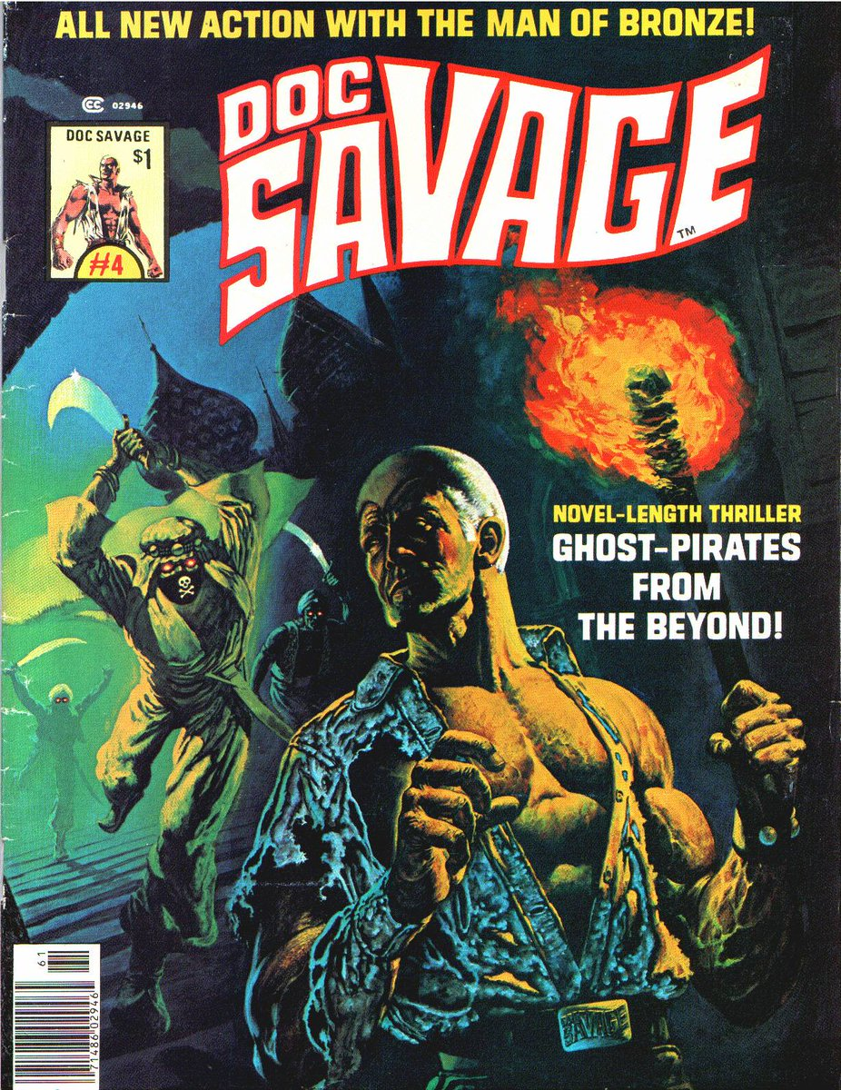 Next out of the gate: The Man of Bronze. DOC SAVAGE!  The popular pulp hero had his own movie in 1975. The Marvel mag ran from 1975-77 with a total of 8 issues, the same number of issues the comic book series lasted, Marvel had published from 1972-74.  DOC SAVAGE Covers: Ken Barr <br>http://pic.twitter.com/XJcVdnE7Hw