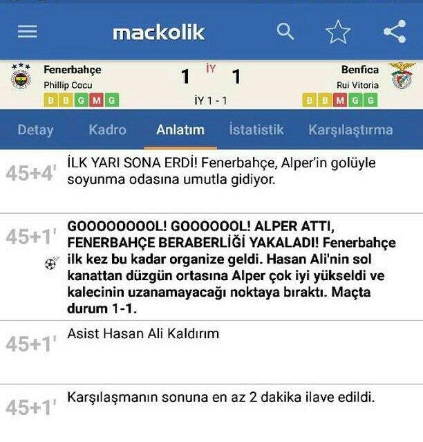 3-0'dan geri dönmemize rağmen biz gol atınca 'GOL!' Fenerbahçe atınca 'GOOOOOOOL!'. Neden? @mackolik https://t.co/qz2rLpyLLQ