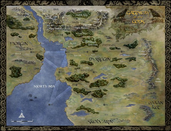 Gateway of the Gods. Map for Outpost and The Wolf Lords. #fantasymap #map #highfantasy #fantasyart #fantasy #grimdark #indieSFF #SFF #cartography #mountains #forests   https:// ftmckinstry.files.wordpress.com/2018/06/map-of -dyrregin-2018.jpg &nbsp; … <br>http://pic.twitter.com/KiZEDOPOTE