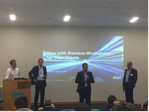 Os CEOs da Atos, Yves Guillaumot. e da Siemens, André Clark estiveram no MindSphere...