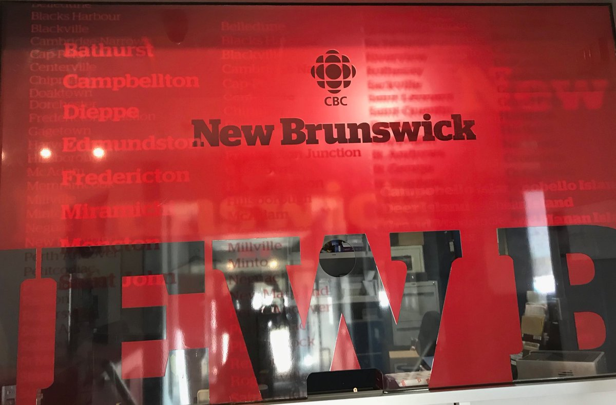 Thank you CBC Fredericton, the most welcoming and hardworking newsroom imaginable. Darrow MacIntyre, Angela Gilbert, and the whole team shared information, material, all helping me make endless deadlines over 3 days here. You are stars, each and every one of you! ⁦@CBCNB⁩