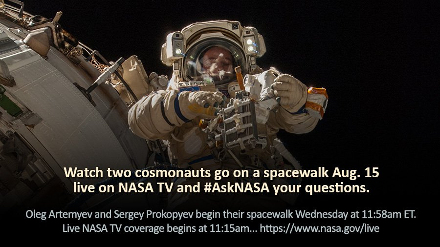 .@NASA TV is covering a Russian spacewalk live beginning Wednesday at 11:15 a.m. EDT. We'll also be answering #AskNASA questions on the air too. https://t.co/yuOTrYN8CV