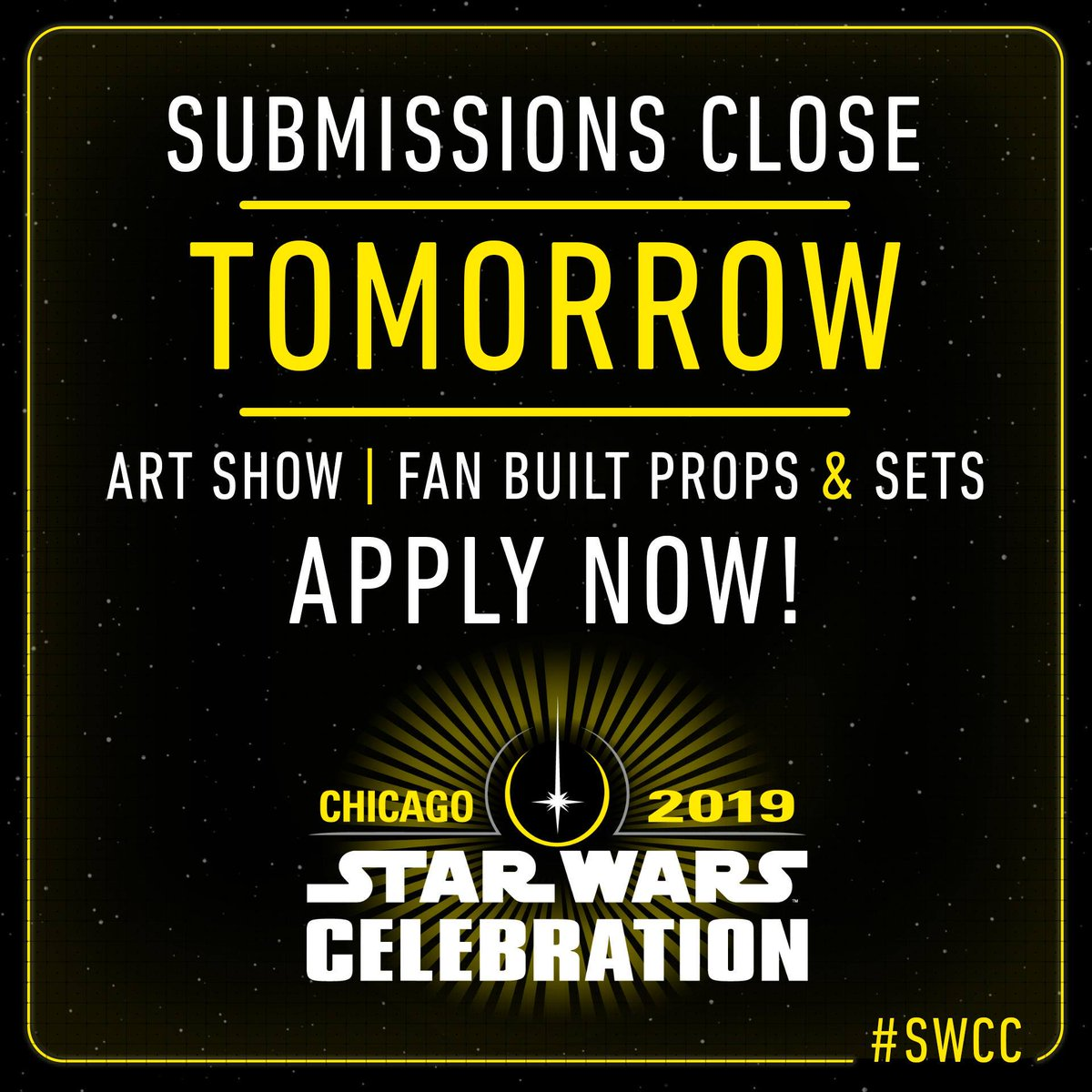 We&#39;d love to see your work on display at #StarWarsCelebration. Apply today! #SWCC  Art Show:  http:// strw.rs/6007DvE7W  &nbsp;    Props and Sets:  http:// strw.rs/6000DvEC6  &nbsp;  <br>http://pic.twitter.com/oV5dpFJpTP