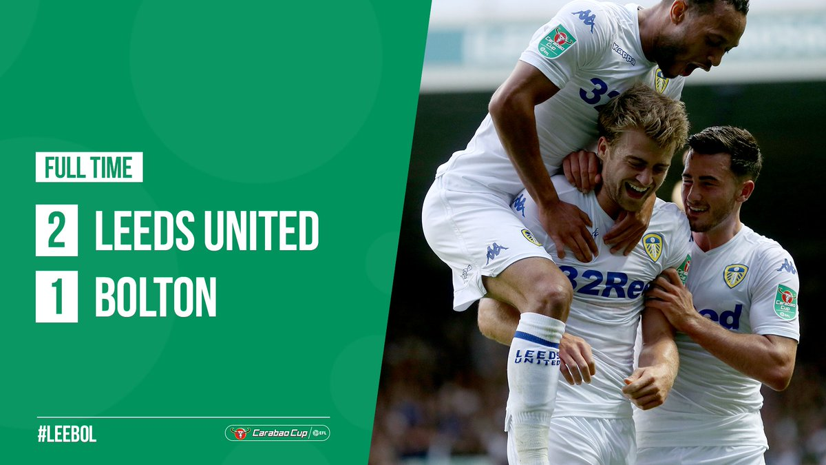 FULL TIME: #LUFC head through to the second round of the Carabao Cup after a 2-1 win over Bolton <br>http://pic.twitter.com/BLnUQ5Ewga