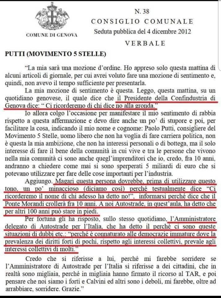 @steal61 @GhitaIacono @DaniloToninelli @Alice1Salvatore @beppe_grillo @LaCastelliM5s @ElioLannutti @antonio_bordin @FMCastaldo @ManteroM5S @M5S_Baroni Mah... a leggere questo resoconto, #Putti risulta facente parte del #m5s e, seppure faccia riferimento alla posizione di #Autostrade, mi pare lungi dall\