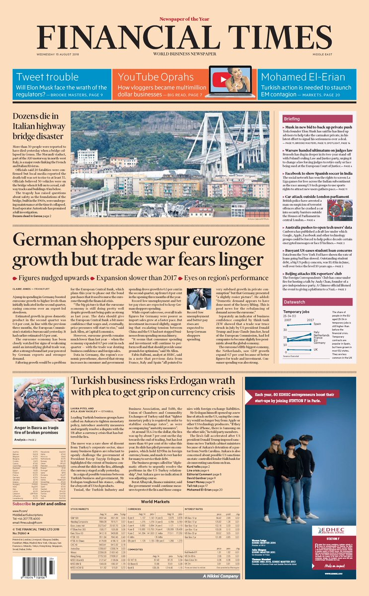 Just published: front page of the Financial Times international edition Wednesday August 15 https://t.co/yFeEqzcOkX