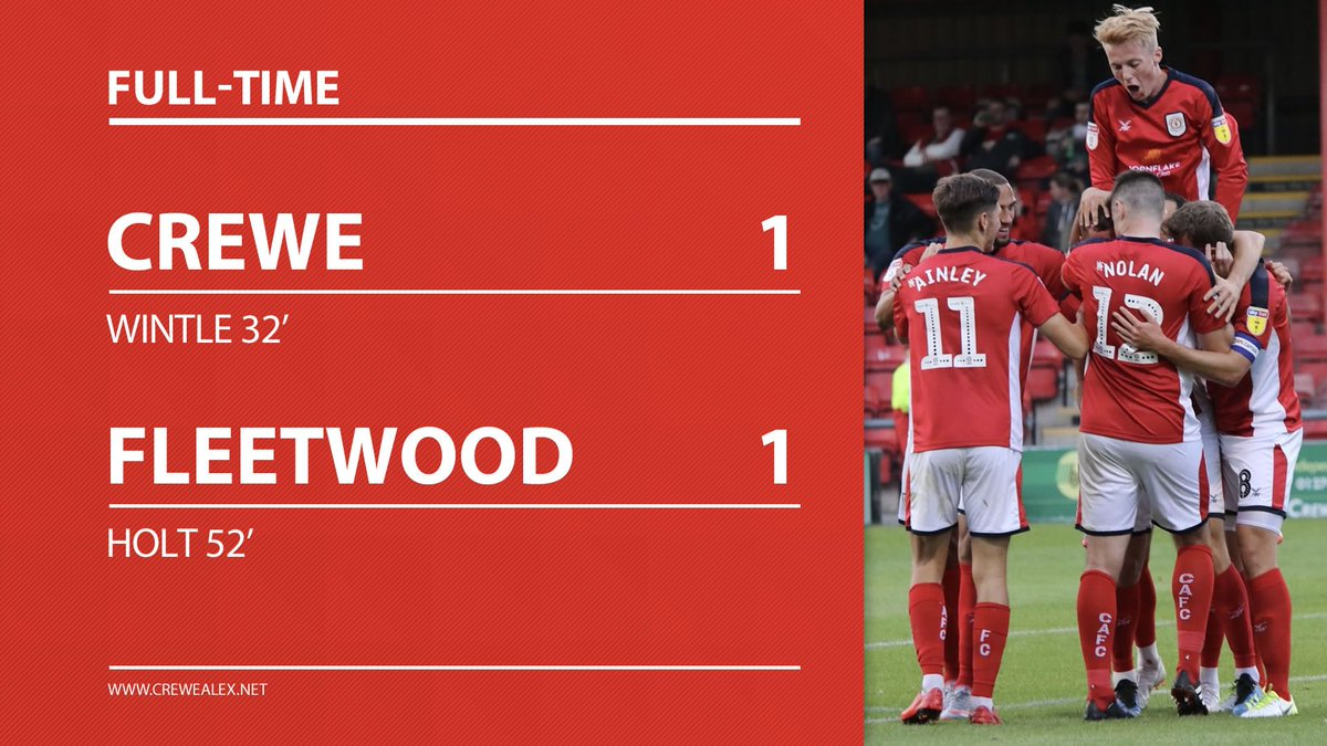 FT: #CreweAlex 1-1 @ftfc (Fleetwood win 4-3 on pens)  Gallant effort by the Alex, Jones & Ng the unfortunate ones to miss in the shoot-out.  Ryan Wintle put Crewe ahead in normal time, Holt equalised after half-time