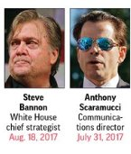 [cont3] #AnthonyScaramucci, communications director: Lasted 10 days after series of unhelpful media appearances. #RobPorter, staff sec: Resigned after allegatns of domestic abuse surfaced frm 2 ex-wives. #StephenBannon, chief strategist: Pushed out after 7 tumultuous mos. [MORE]<br>http://pic.twitter.com/Xvmk0iUUcE