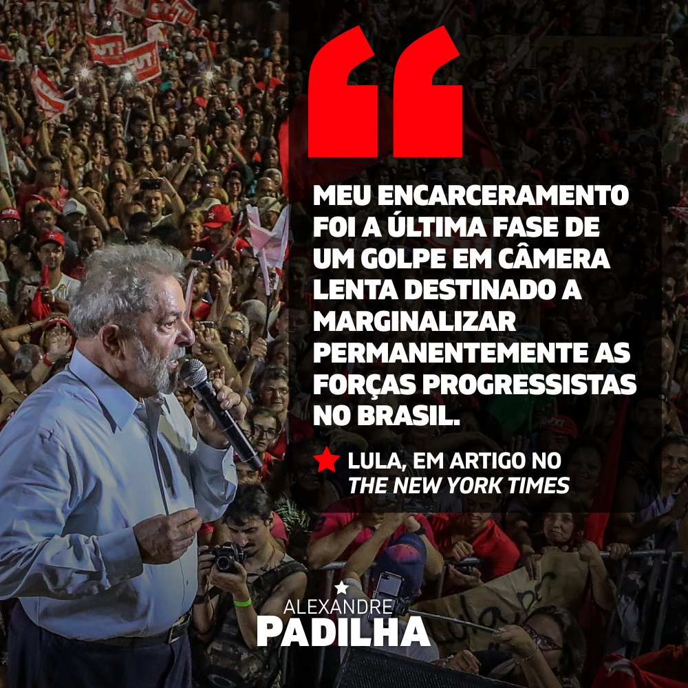 A direita executa às claras o seu plano de tentar impedir que Lula seja eleito presidente de novo. Mas o povo sabe que tem poder para reverter esse quadro. Lula não é só uma pessoa, mas uma ideia que existe em todo o lugar onde há vontade de lutar por um Brasil melhor para todos.