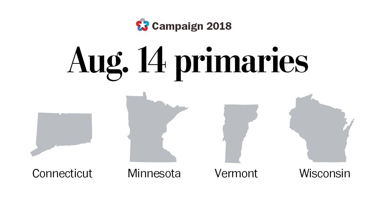 It&#39;s another primary night. Here&#39;s what you need:  Connecticut primary (Senate, House, Governor)  https:// wapo.st/2MsEYKA  &nbsp;    Minnesota primary (Senate, House, Governor)  https:// wapo.st/2Bi1ZeO  &nbsp;   <br>http://pic.twitter.com/iy4Bkvnm4b