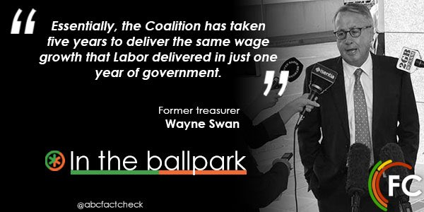 Former treasurer @SwannyQLD's claim that wages have grown in 5 years under @LiberalAus only as much as they did in a year under @AustralianLabor is in the ballpark. New #factcheck:  https:// ab.co/2MmPvXM  &nbsp;   #auspol<br>http://pic.twitter.com/UKF5i3B0kf