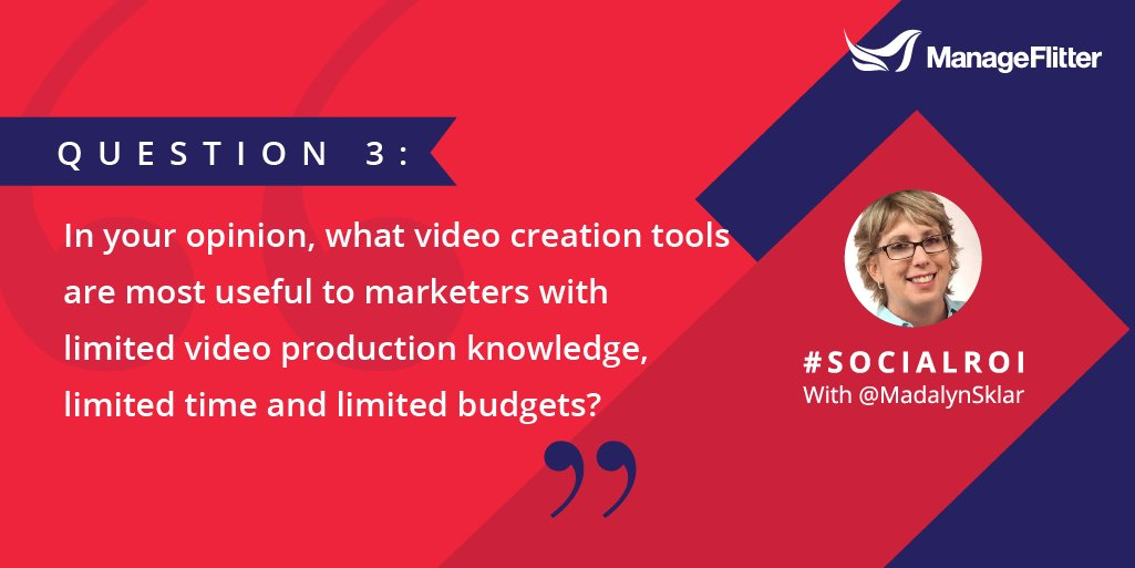 Q3: In your opinion, what video creation tools are most useful to marketers with limited video production knowledge, limited time and limited budgets? #SocialROI<br>http://pic.twitter.com/nlgzxnJgw9