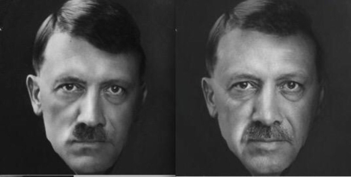 Erdogan must be Hitler's child while he was in prison.(Jailers wife was Turkish)They look so much alike and sadly will end up the same way. <br>http://pic.twitter.com/MFpu1ihgxu