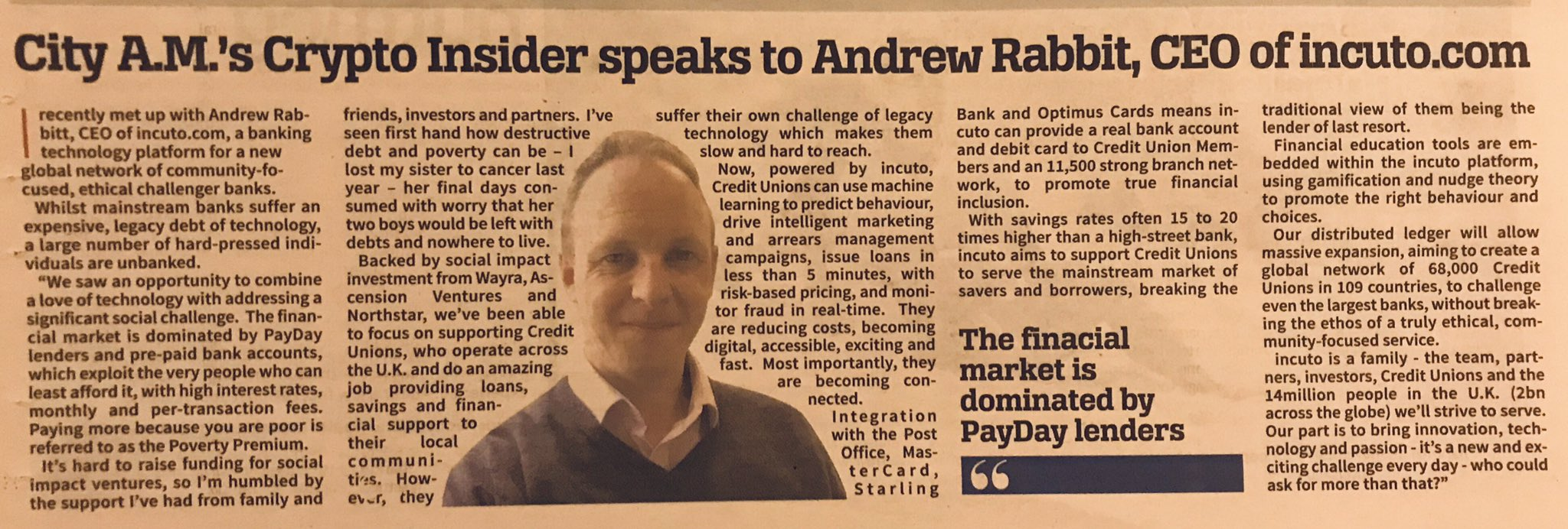 City AM article on incuto and it's founder & CEO, Andrew Rabbitt.