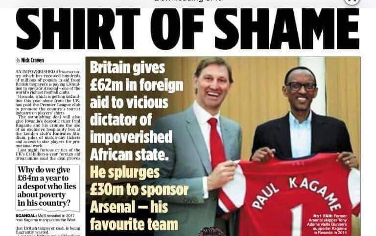 36fc5d32eb1 #Kagame's #Rwanda deal with #Arsenal #ArsenalShirtOfShame is a disgrace to @ Arsenal team. #VisitRwanda is nothing but a stunt to boost criminal  #Kagame's ...