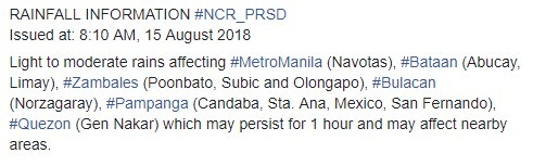 RAINFALL INFORMATION #NCR_PRSD  Issued at: 8:10 AM, 15 August 2018