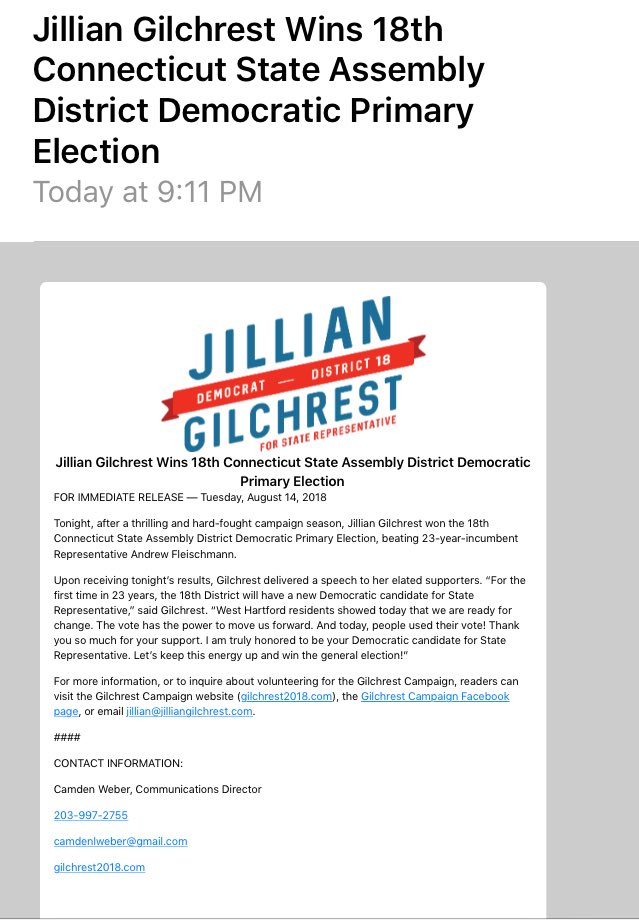 Inbox: Jillian Gilchrest Wins 18th Connecticut State Assembly District Democratic Primary Election | #WestHartford #WeHa #ctpolitics <br>http://pic.twitter.com/kjOJ6rqkTt