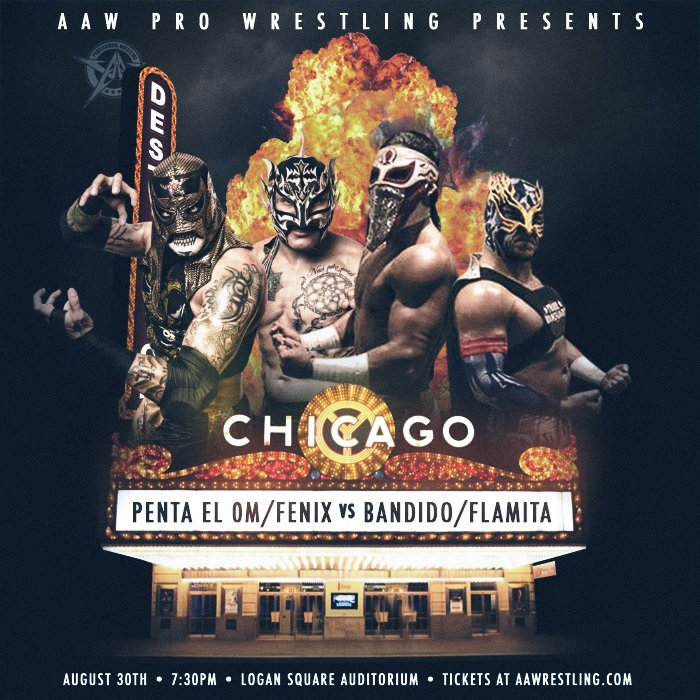 3 big matches signed for 8/30 at the Logan Square Auditorium. @PENTAELZEROM @ReyFenixMx vs @LuchadorBandido @flamita_dtu  @BestiesITW vs @TheProductDS @MadKing1981  @TheSamiCallihan @FearHavok vs @JimmyJacobsX @Brodyxking  More to be announced<br>http://pic.twitter.com/7fZG0uZVe4