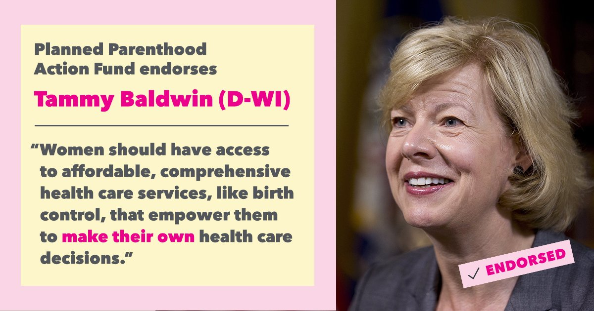 Congrats to @tammybaldwin on your primary victory! We're proud to stand with you and never stop fighting for women, families, and reproductive health!