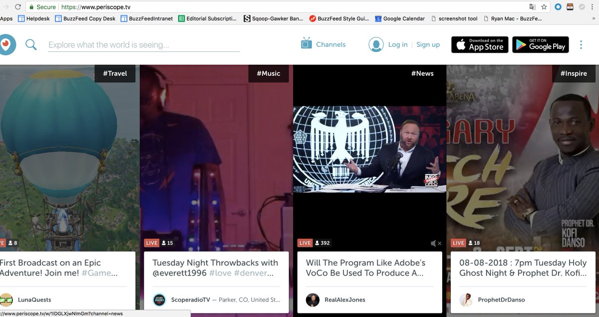 The Periscope homepage is currently featuring Alex Jones' video feed with the hashtag #News