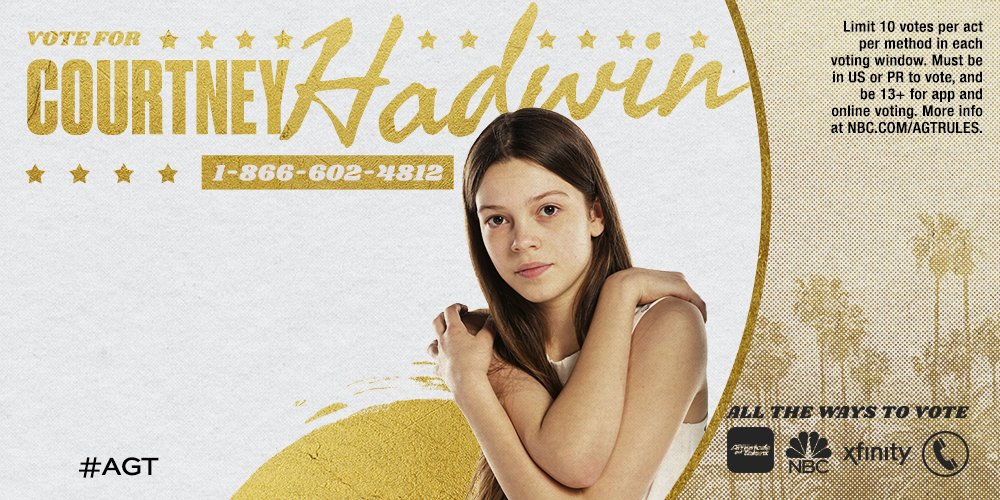 If @CourtneyHadwin KNOCKED your socks off tonight, RETWEET and don't forget to vote. #AGT https://t.co/PdefyYEcEz