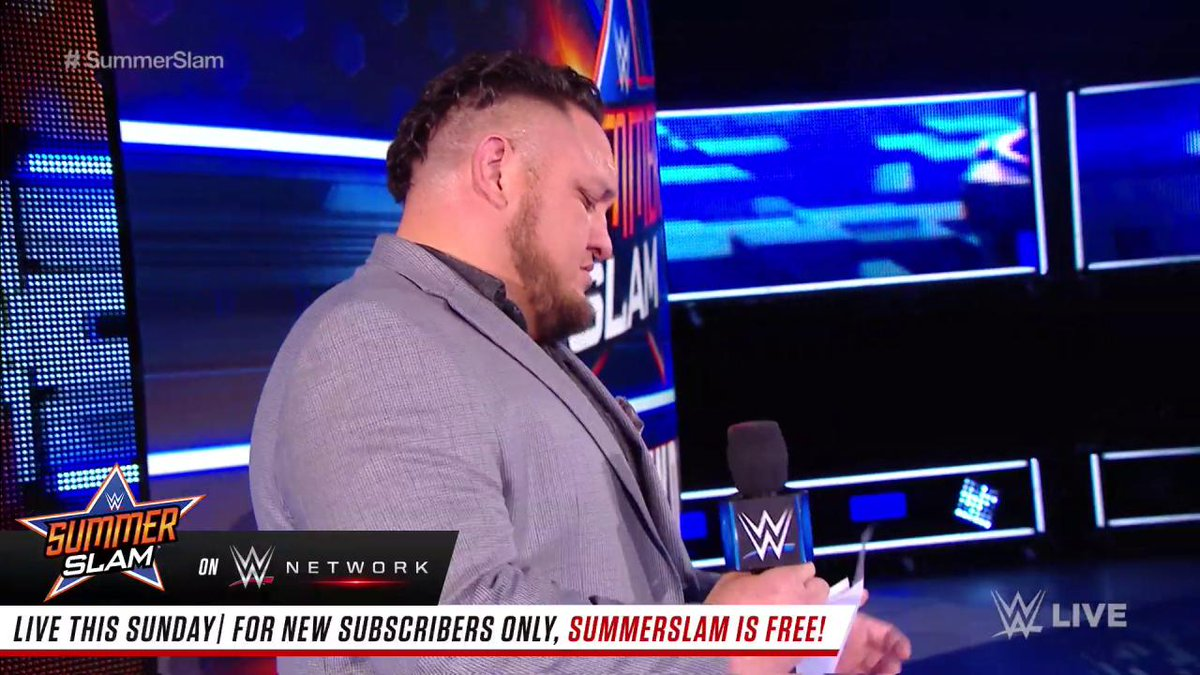 It appears @SamoaJoe got a letter from a very special member of the @WWEUniverse... #SDLive
