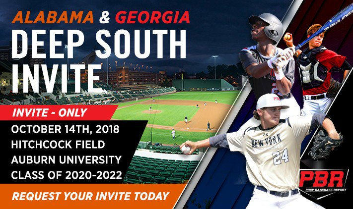 Players requesting invites for the #DeepSouthInvite at @AuburnBaseball between @PBR_Alabama and @PBRGeorgia please request your invite under your home state:  @PBRGeorgia players&gt;  https://www. prepbaseballreport.com/georgia-store/ deep-south-invite-10-14-18.html &nbsp; …   @PBR_Alabama players.  https://www. prepbaseballreport.com/alabama-store/ deep-south-invite-10-14-18.html &nbsp; …  <br>http://pic.twitter.com/g9uhLCgGaE