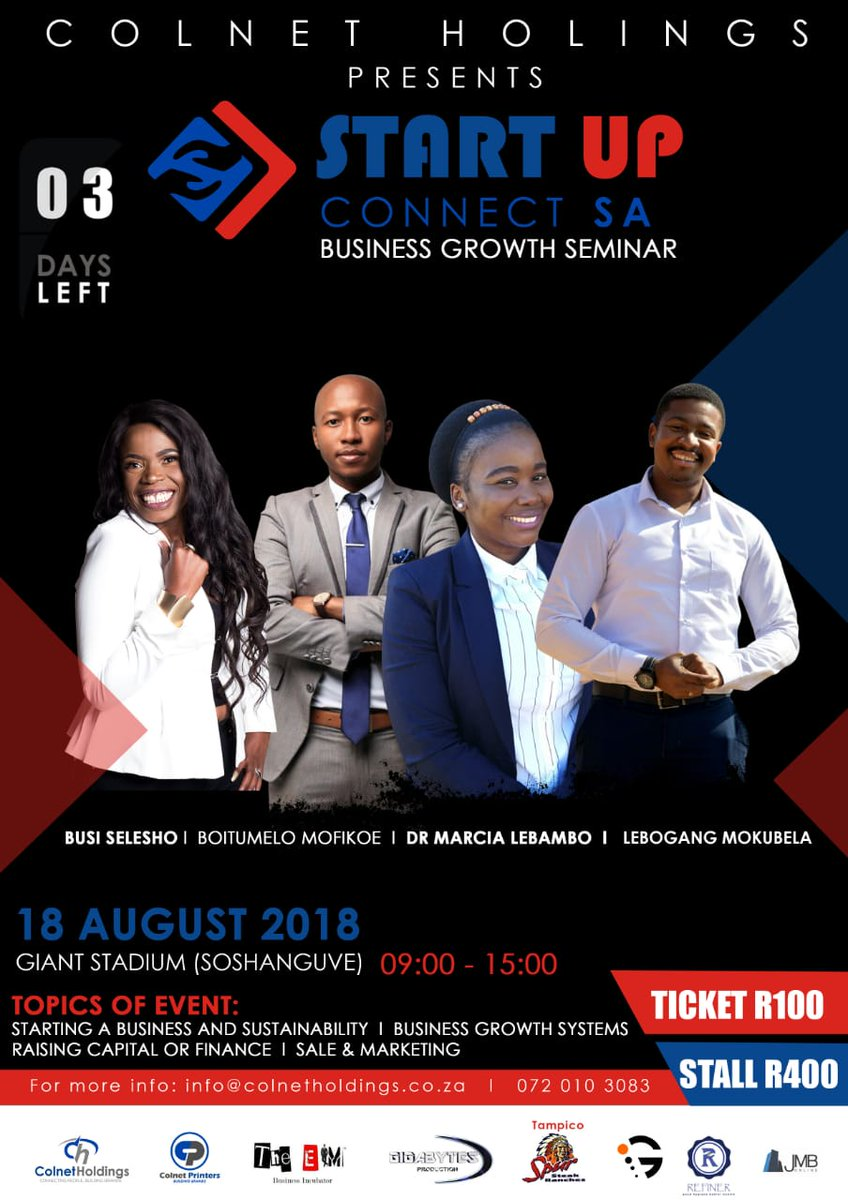 Is a count down @Startupconnectz @BMofikoe @busiSelesho @marcialebambo @LebogangMokubel (  Business Growth Seminar) Giant Stadium Soshanguve 18 ticket R100. <br>http://pic.twitter.com/XGFssvPDyZ