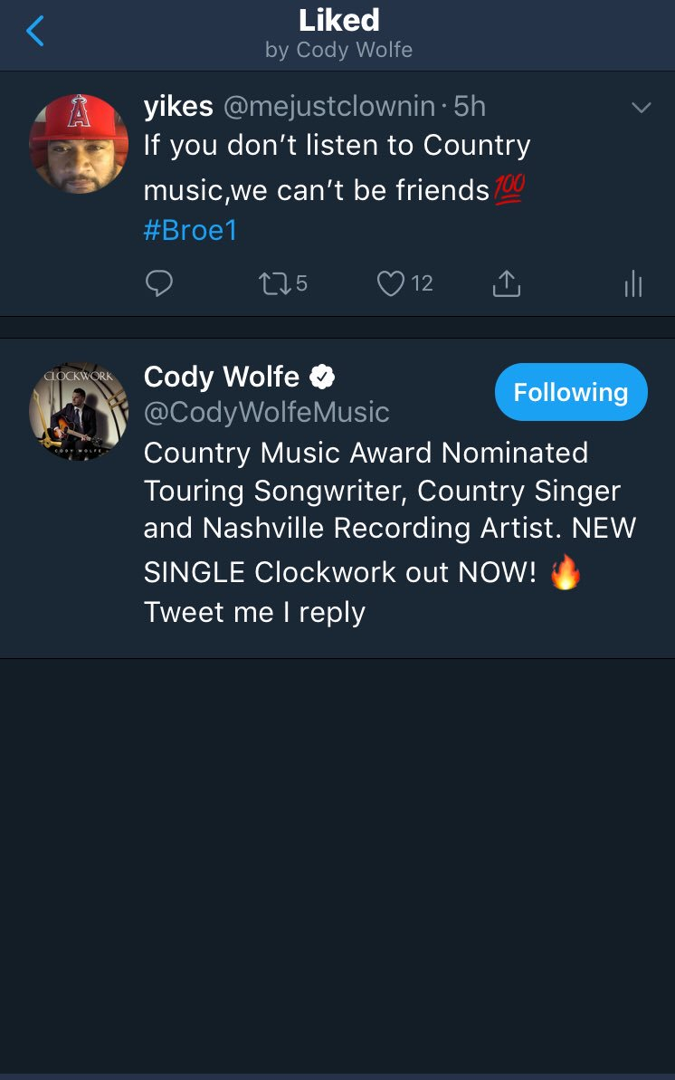 If you don't know Cody Wolfe,you don't know Country music @CodyWolfeMusic #Broe1