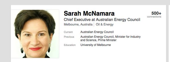 by the way, who is Sarah McNamara? A veteran fossil fuel lobbyist and former staffer for Tony Abbott and Ian Macfarlane ... when they abolished the carbon tax and amended the RET Photo