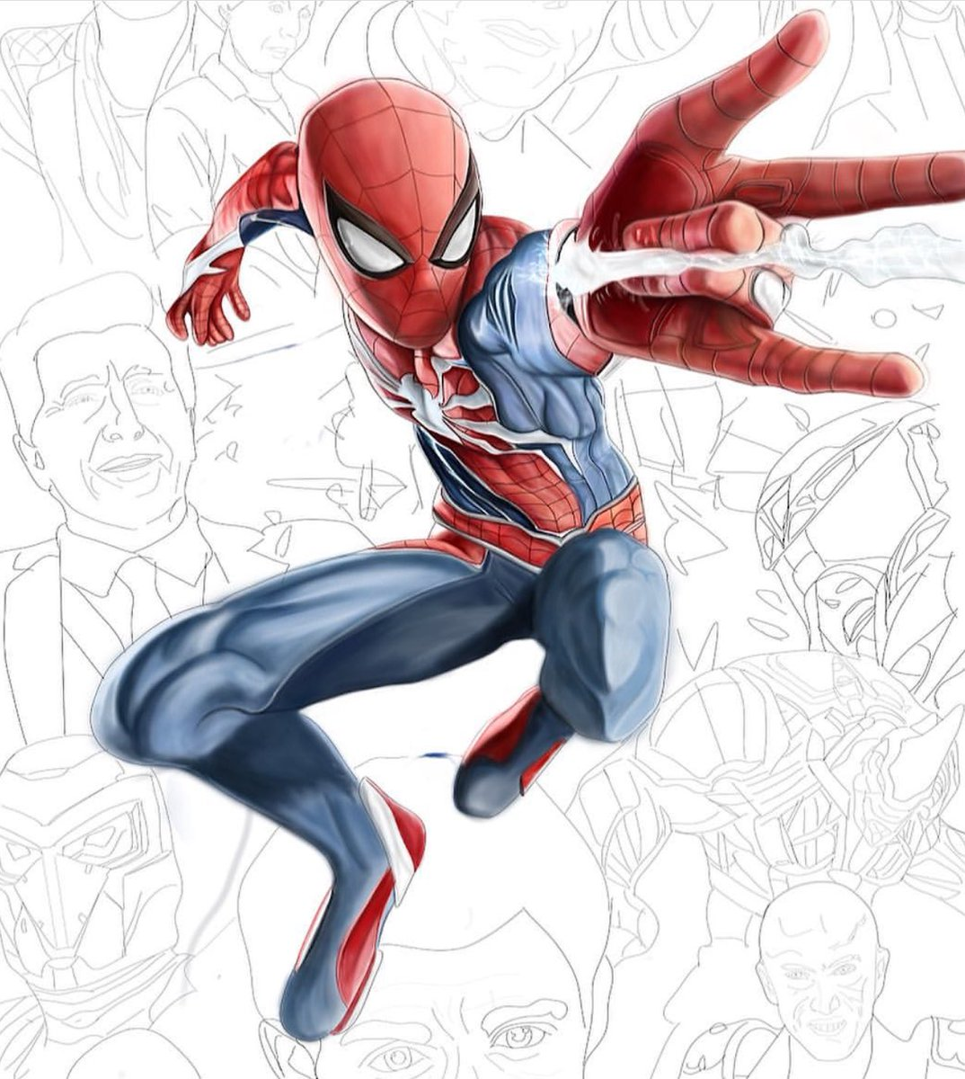 Hey Guys Working On A New Poster! My Friend Helped Out With Some Of The Colouring! I'll Give Some Prints Away When Done! #SpiderManPS4 @Joseph_Witty @EvanFilarca @insomniacgames @IamAmazingLucas @BillRosemann @bryanintihar @JamesStevenson @jacinda_chew @YuriLowenthal @PlayStation <br>http://pic.twitter.com/vC9cRaMjmu