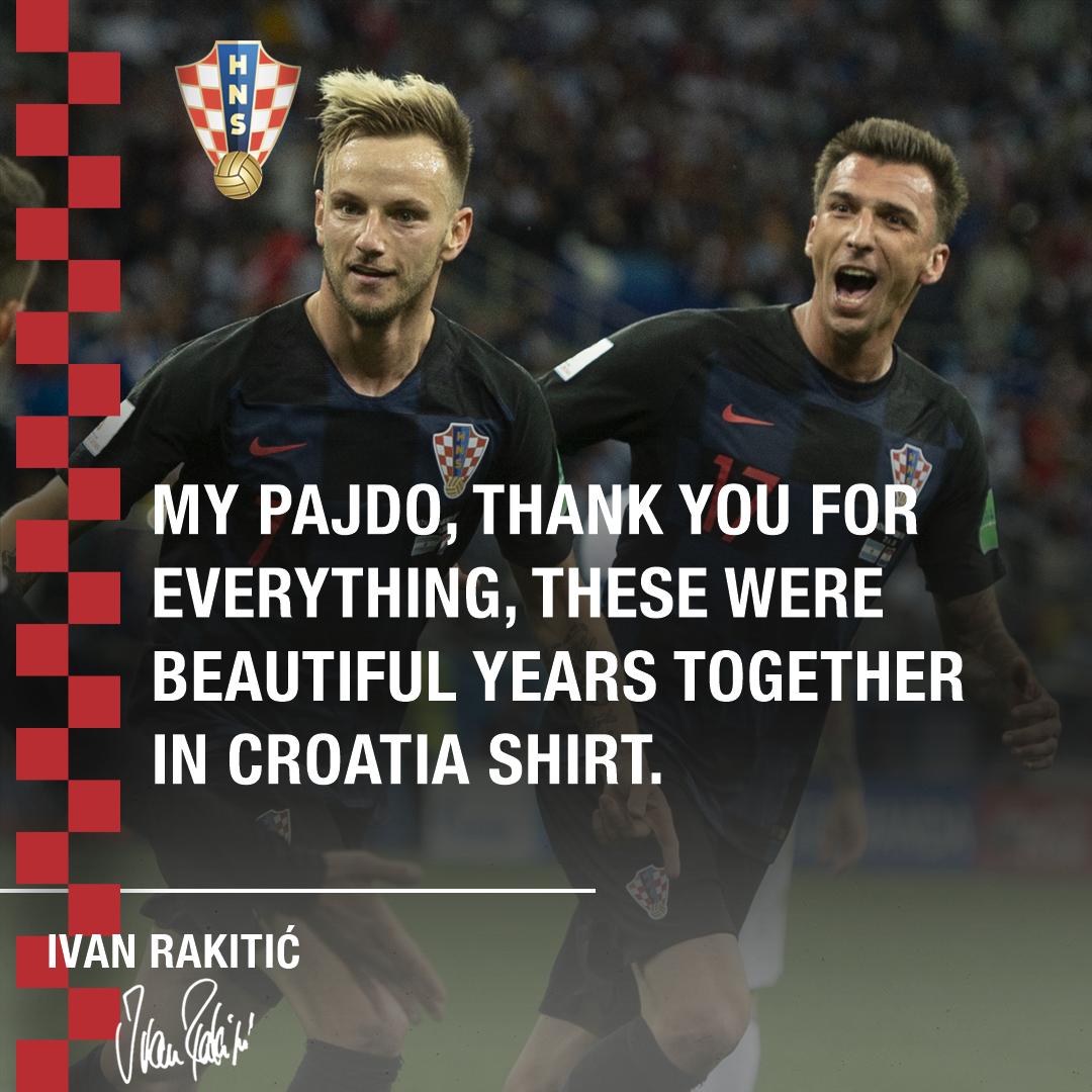 #Croatia vice-captain @ivanrakitic sends a message to @MarioMandzukic9 as the forward retires from international duty.   #HvalaMandžo  #BeProud #Family #Vatreni<br>http://pic.twitter.com/1H7gzaDQKl