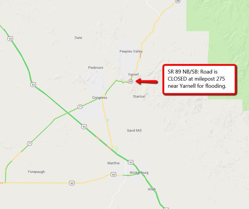 Map Of Highway 89 In Arizona.Arizona Dot On Twitter Sr 89 Highway Is Closed Near Milepost 275