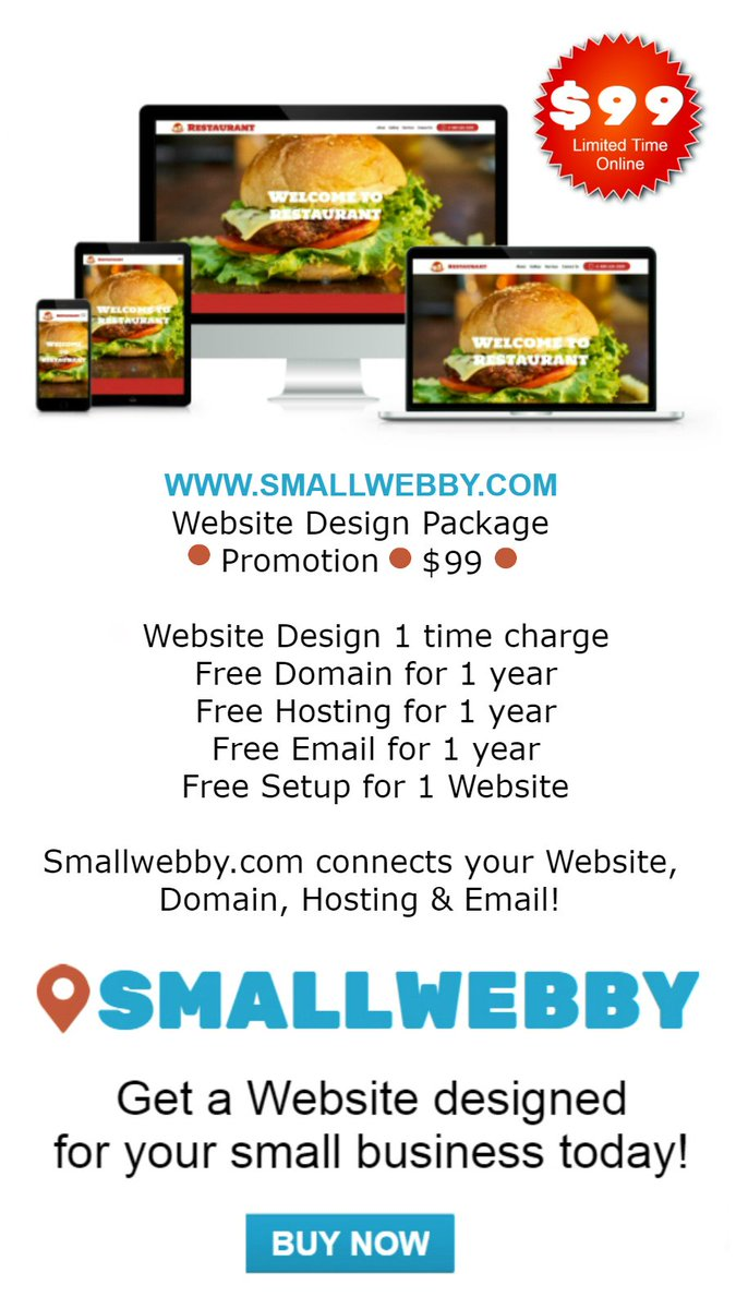 * #1ST to #RETWEET this #TWEET gets a #FREE #Website * SMALLWEBBY.COM * Website Design Package Special * Promotion * ONLY $99 * Website, Domain, Hosting, & Email * BUY NOW * Try: sample.smallwebby.com #Smallwebby Click: smallwebby.com/index.php?rout…