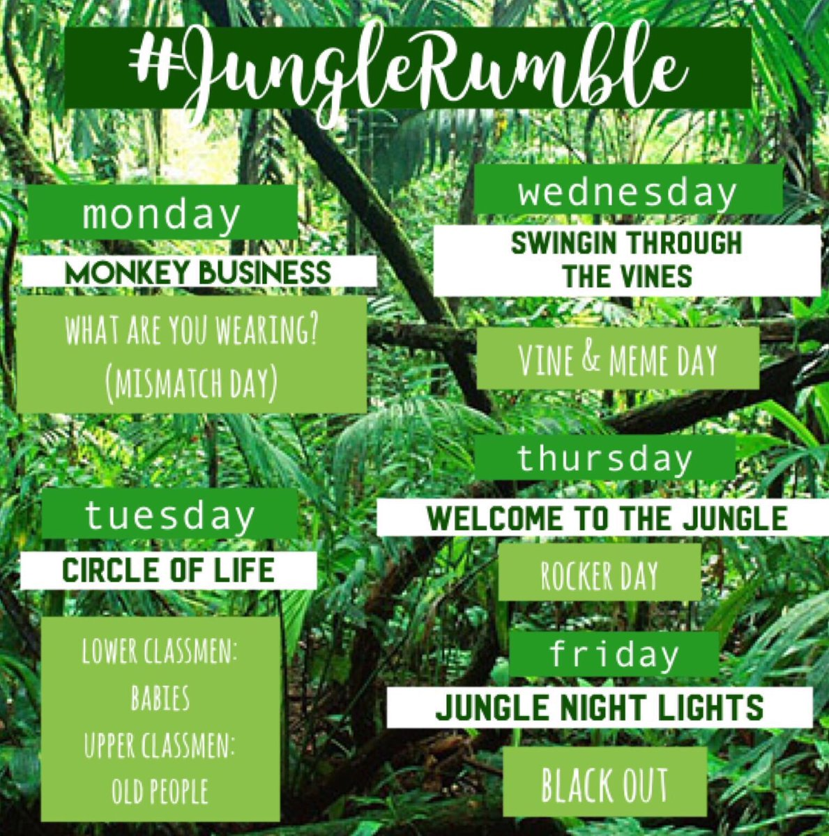 you don&#39;t want to miss out on our upcoming spirit week! #junglerumble starts next monday! <br>http://pic.twitter.com/QvCMzJQ0LH