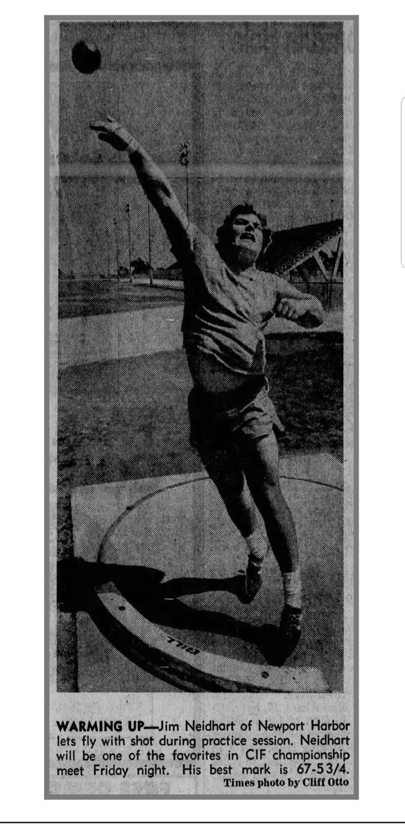 The May 23, 1973 edition of the @latimes featured a story on Newport Harbor (Calif.) High School senior Jim Neidhart, who ranked 2nd in the country in shot put.