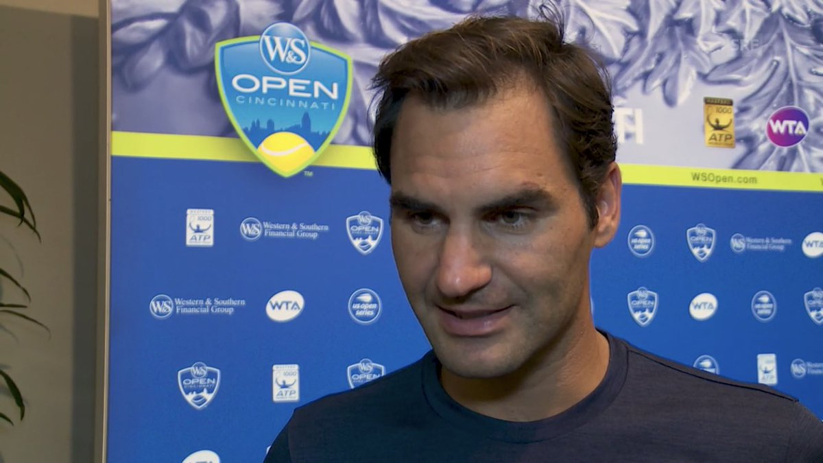"""RF:""""It usually takes me like two matches to arrive in the tournament, then everything gets clearer, it's like the mist disappears, I can then play closer to the lines and know to anticipate the curve and bounce behaviour of the ball"""" #federer <br>http://pic.twitter.com/M7uYCfjE5B"""