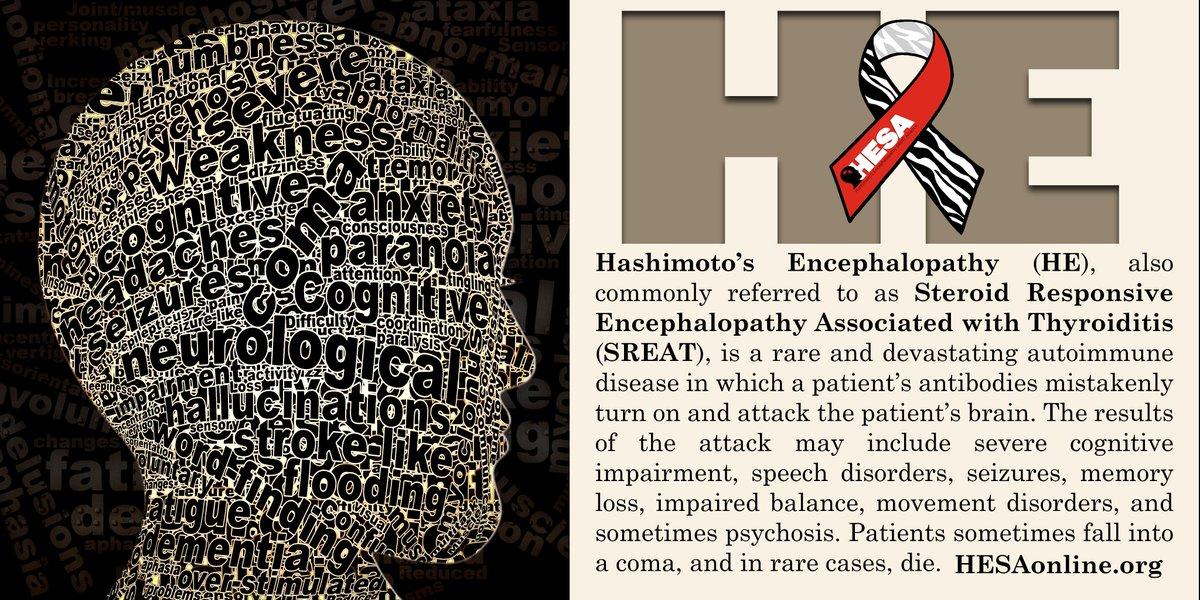 What is Hashimoto&#39;s Encephalopathy?  #Dazzle4Rare #HEFamily #HEAwareness #HashimotosEncephalopathy #AutoimmuneEncephalopathy #SREAT #RareAware #RareDisease #ChronicIllness #HEWarrior #HashimotosEncephalopathySREATAlliance @dazzle4rare<br>http://pic.twitter.com/z9jqFFYSWC