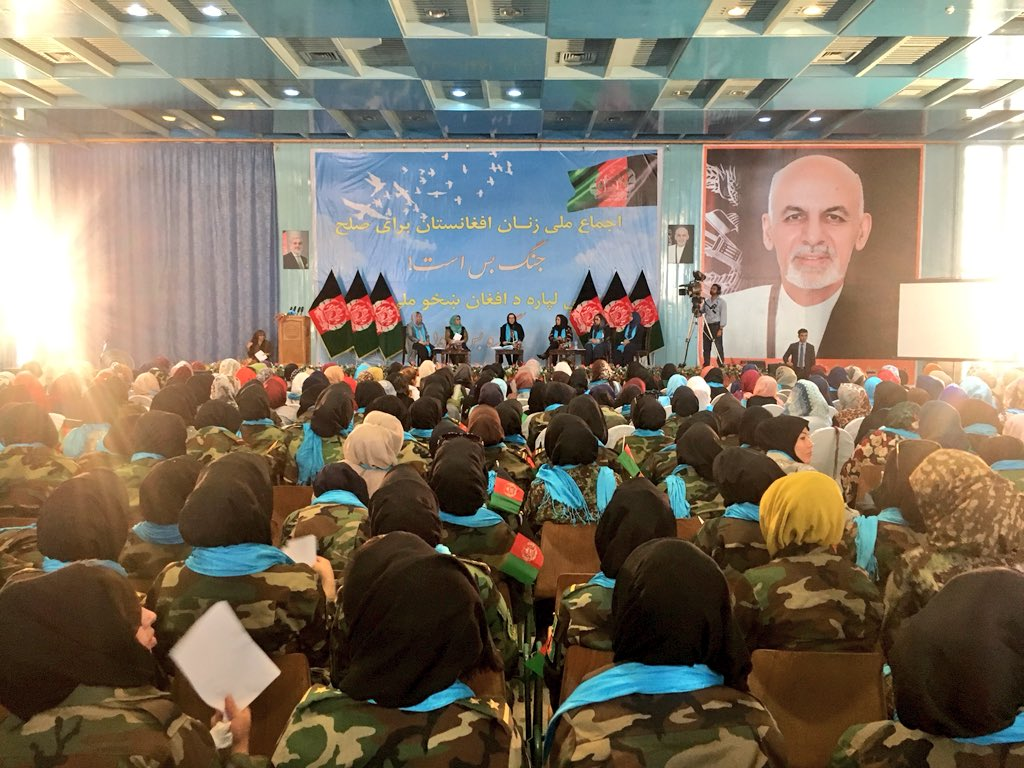 "The Afghan women national Consensus on Peace event is held today in Kabul. More than 1200 women from Across the country are attending. The motto of the conference is ""Peace is a need and fighting must end"". Panelists are also answering questions about the role of women n peace."