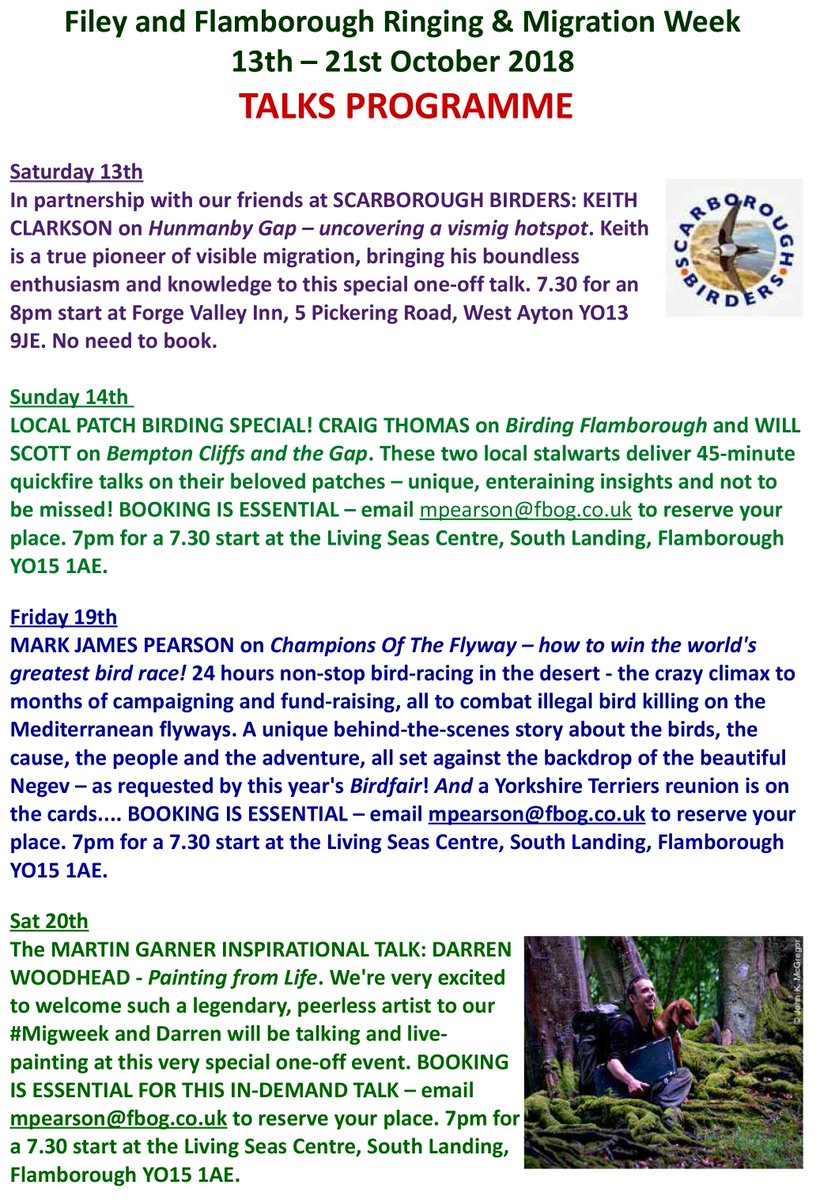 Pls RT! Just finalised the Filey &amp; Flamborough Ringing and Migration Week (13-21 Oct &#39;18) talks programme - all free of course but booking required! Speakers include @DarrenNWoodhead @vismigKC @CraigCThomas1 &amp; @WillboneScott - Full #Migweek schedule to follow soon!<br>http://pic.twitter.com/BmevGybT9Z