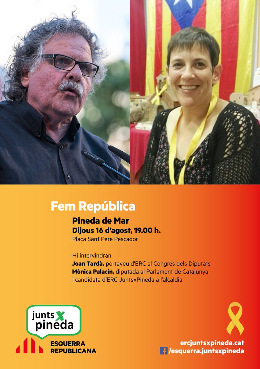 Us esperem demà a Pineda de Mar! @Esquerra_ERC @monicapalacin29