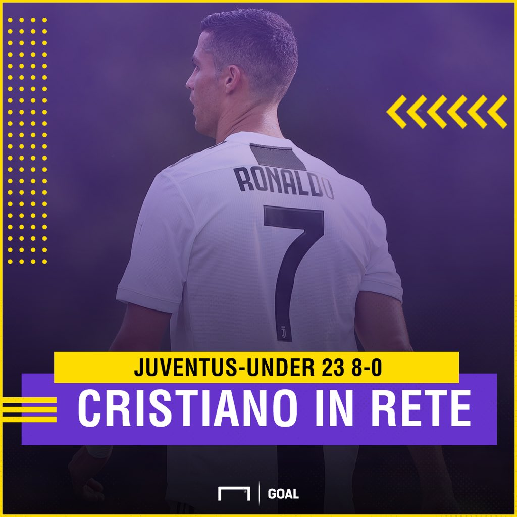 #Juventus: 8-0 nella partitella contro l'Under 23. #CR7 apre le marcature, a segno anche #Bonucci. Gran goal di #Bernardeschi   http:// www.goal.com/it/notizie/juventus-juventus-u23-8-0-cristiano-ronaldo-ancora-a-segno/164s0bn0d8bv0z2emghpqfljd @GoalItalia  - Ukustom